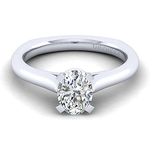Gabriel - Allie 14k White Gold Oval Solitaire Engagement Ring
