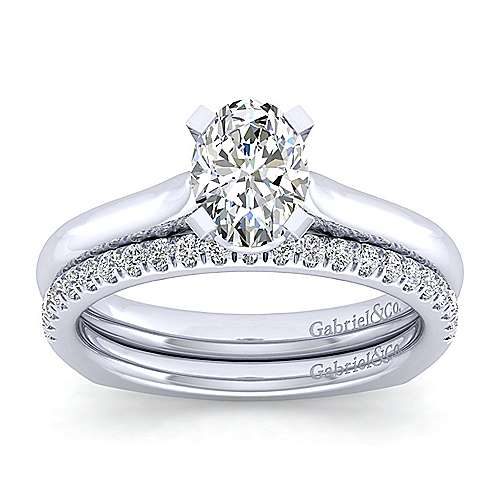 Allie 14k White Gold Oval Solitaire Engagement Ring angle 4