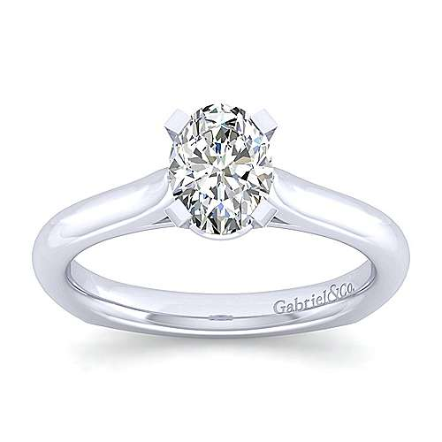 Allie 14k White Gold Oval Solitaire Engagement Ring angle 5