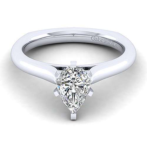 Gabriel - Allie 14k White Gold Pear Shape Solitaire Engagement Ring