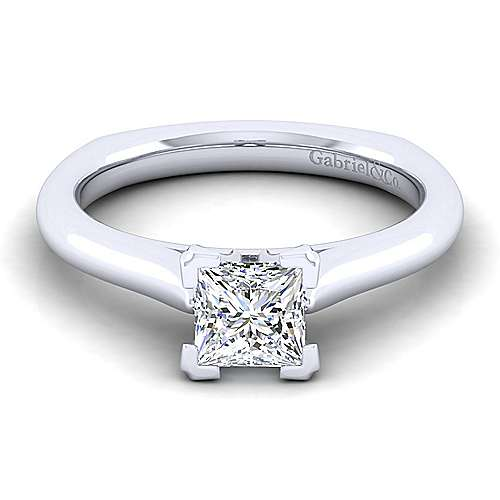 Allie 14k White Gold Princess Cut Solitaire Engagement Ring angle 1