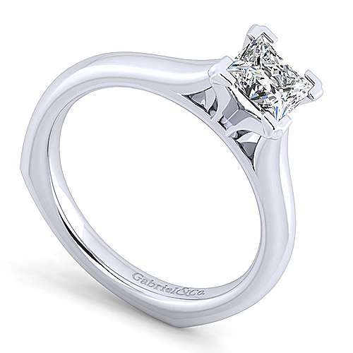 Allie 14k White Gold Princess Cut Solitaire Engagement Ring angle 3