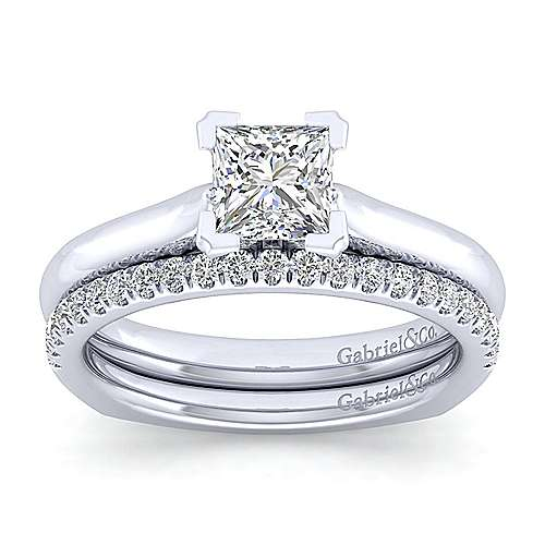 Allie 14k White Gold Princess Cut Solitaire Engagement Ring angle 4