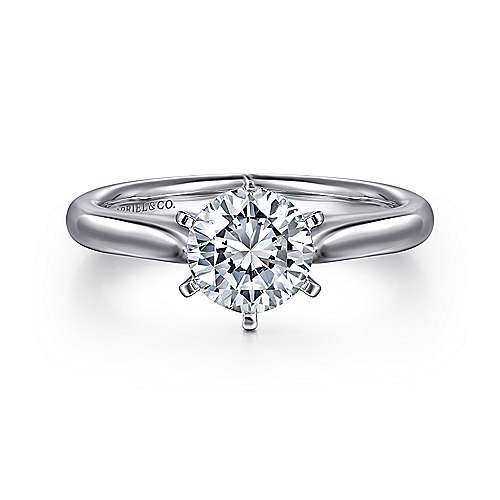 Allie 14k White Gold Round Solitaire Engagement Ring angle 1