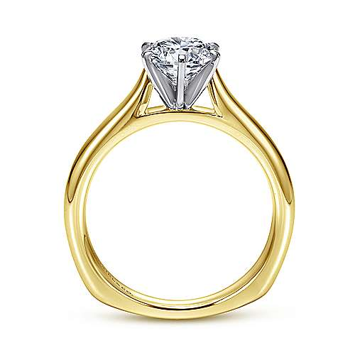 Allie 14k Yellow And White Gold Round Solitaire Engagement Ring angle 2