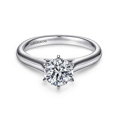 Gabriel - Allie Platinum Round Solitaire Engagement Ring