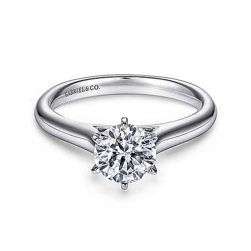 Gabriel - Allie Platinum Round Solitaire Engagement Ring