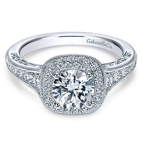 Allison 14k White Gold Round Halo Engagement Ring angle 1