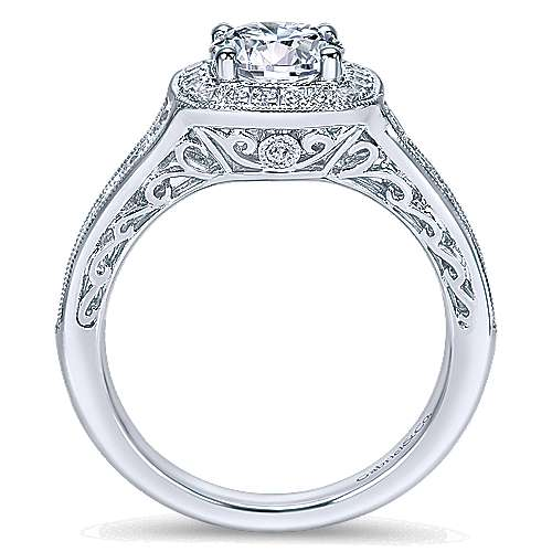 Allison 14k White Gold Round Halo Engagement Ring angle 2