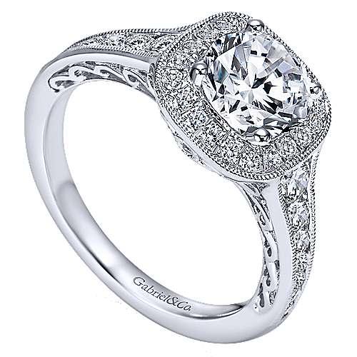 Allison 14k White Gold Round Halo Engagement Ring