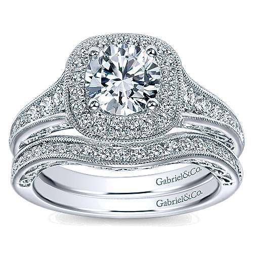 Allison 14k White Gold Round Halo Engagement Ring angle 4