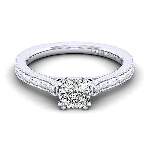 Gabriel - Alma 14k White Gold Cushion Cut Straight Engagement Ring