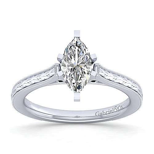 Alma 14k White Gold Marquise  Straight Engagement Ring angle 5
