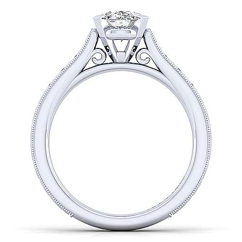 Alma 14k White Gold Oval Straight Engagement Ring angle 2