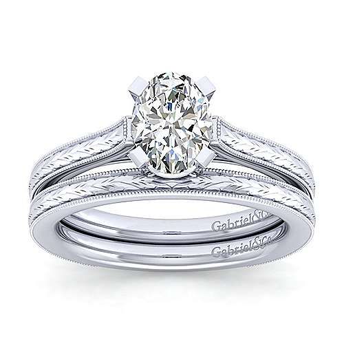 Alma 14k White Gold Oval Straight Engagement Ring angle 4