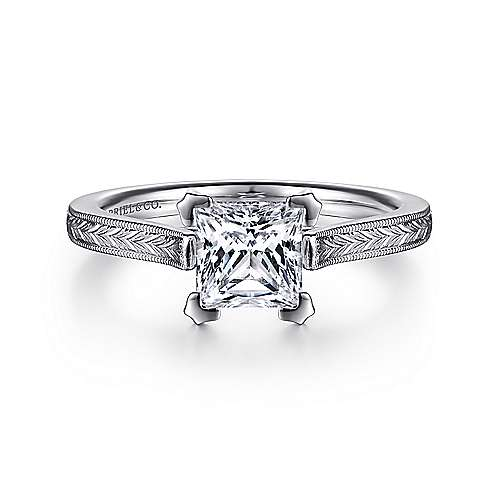 Gabriel - Alma 14k White Gold Princess Cut Straight Engagement Ring