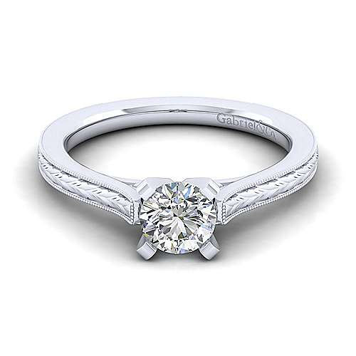 Gabriel - Alma 14k White Gold Round Straight Engagement Ring