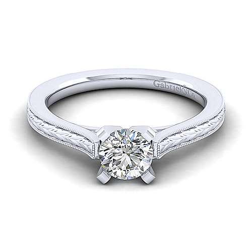 Gabriel - Alma 14k White Gold Round Straight Engagement Ring