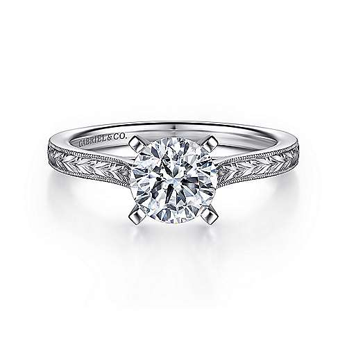 Alma 14k White Gold Round Straight Engagement Ring angle 1