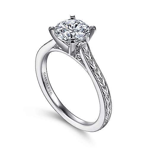 Alma 14k White Gold Round Straight Engagement Ring angle 3