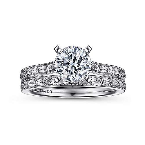 Alma 14k White Gold Round Straight Engagement Ring angle 4