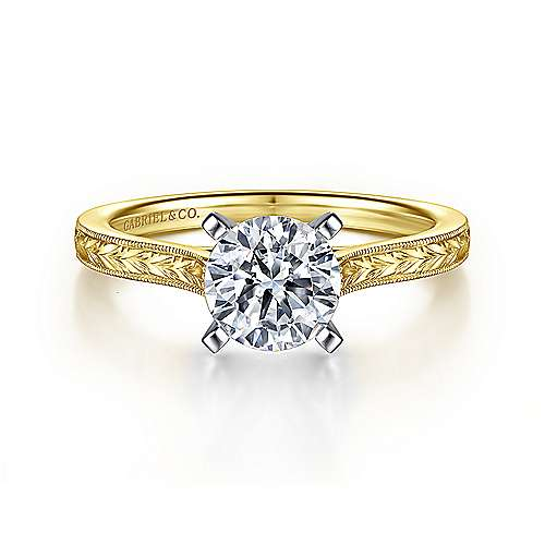 Gabriel - Alma 14k Yellow And White Gold Round Straight Engagement Ring