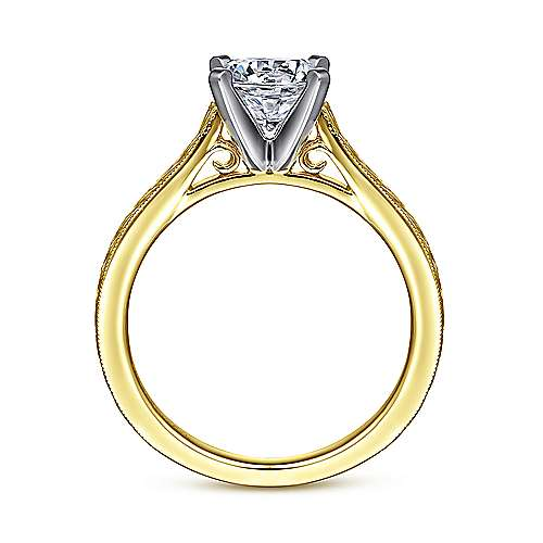 Alma 14k Yellow And White Gold Round Straight Engagement Ring angle 2
