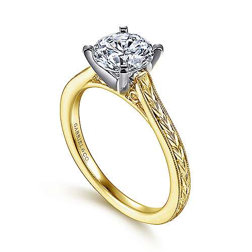 Alma 14k Yellow And White Gold Round Straight Engagement Ring angle 3