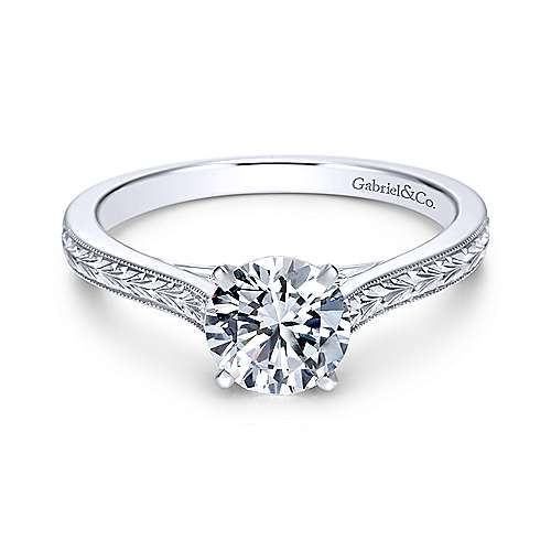 Gabriel - Alma Platinum Round Straight Engagement Ring