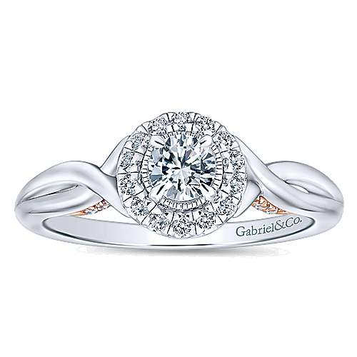 Aloha 14k White And Rose Gold Round Halo Engagement Ring angle 5