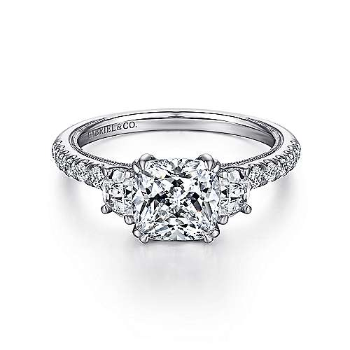Gabriel - Aloise 14k White Gold Cushion Cut 3 Stones Engagement Ring