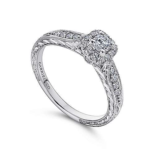 Alona 14k White Gold Round Halo Engagement Ring angle 3