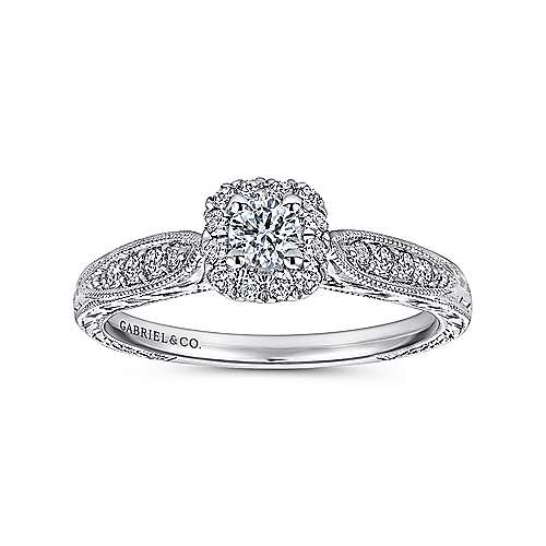 Alona 14k White Gold Round Halo Engagement Ring angle 5