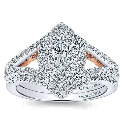 Alpine 14k White And Rose Gold Marquise  Double Halo Engagement Ring angle 4