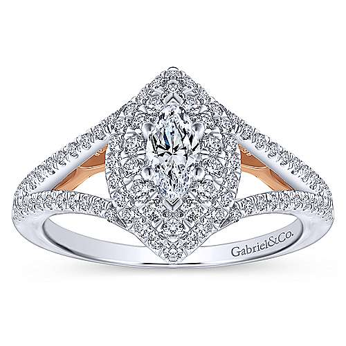 Alpine 14k White And Rose Gold Marquise  Double Halo Engagement Ring angle 5