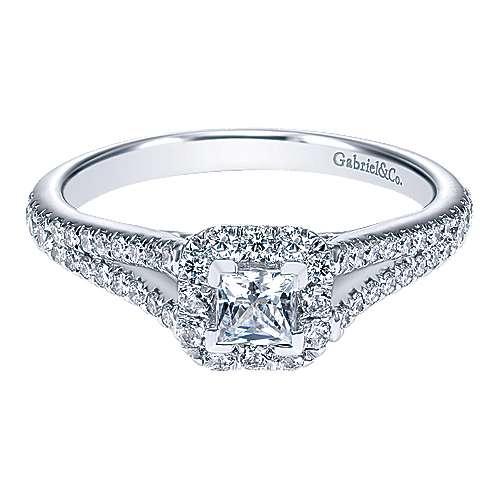 Gabriel - Alta 14k White Gold Princess Cut Halo Engagement Ring