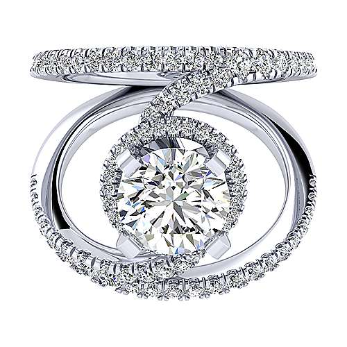 Altaira 14k White Gold Round Halo Engagement Ring angle 1