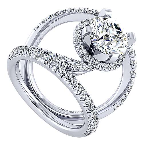 Altaira 14k White Gold Round Halo Engagement Ring angle 3
