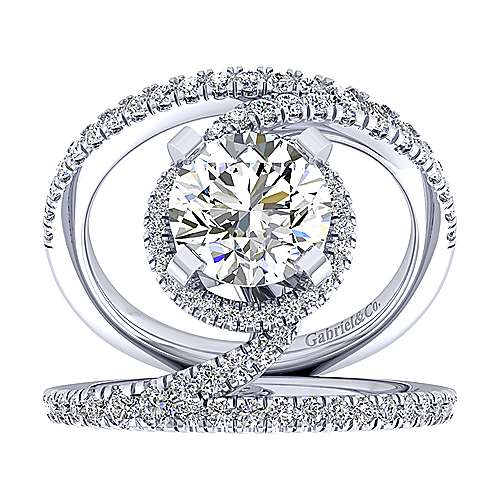 Altaira 14k White Gold Round Halo Engagement Ring angle 5