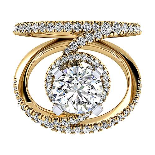 Altaira 14k Yellow And White Gold Round Split Shank Engagement Ring angle 1