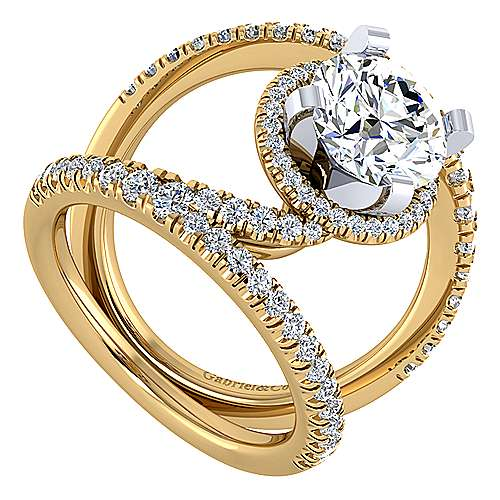 Altaira 14k Yellow And White Gold Round Split Shank Engagement Ring angle 3