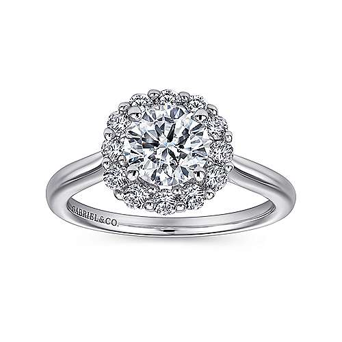 Althea 14k White Gold Round Halo Engagement Ring angle 5