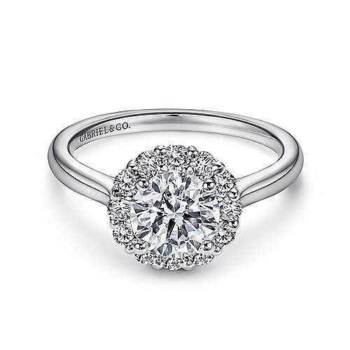 Gabriel - Althea 14k White Gold Round Halo Engagement Ring