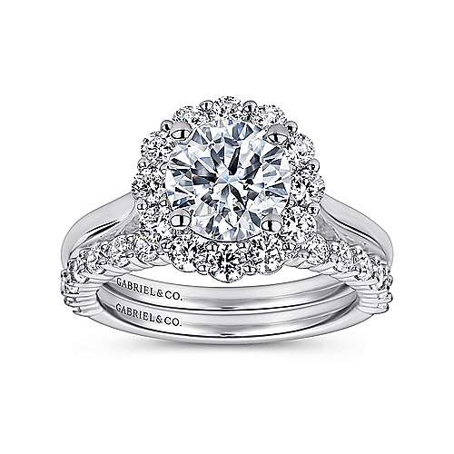 Althea 14k White Gold Round Halo Engagement Ring angle 4