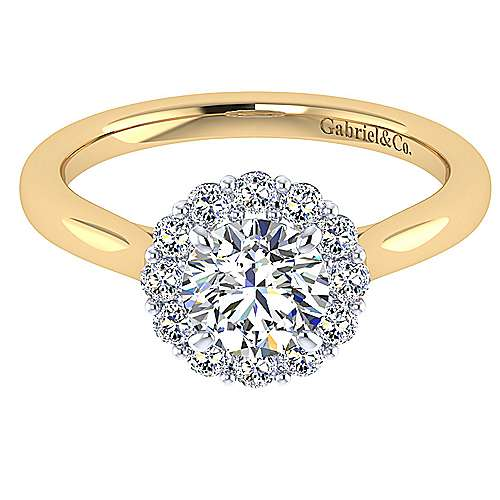 Gabriel - Althea 14k Yellow And White Gold Round Halo Engagement Ring
