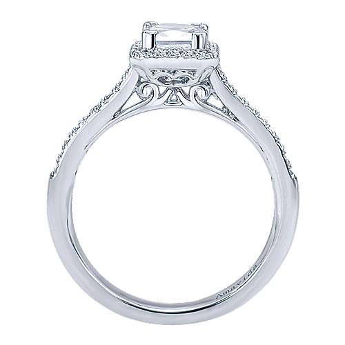 Amaranta 18k White Gold Princess Cut Halo Engagement Ring angle 2