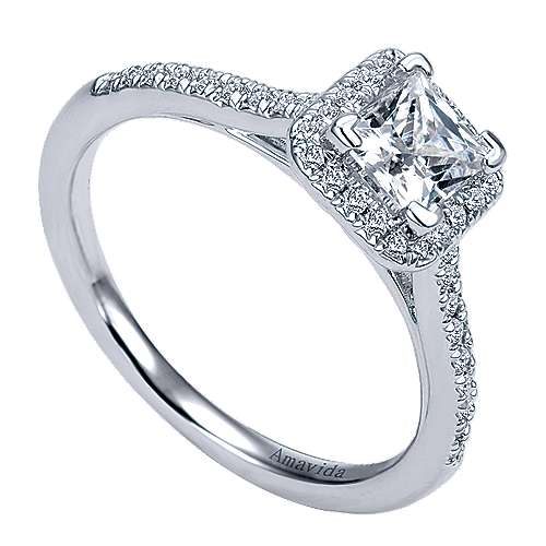 Amaranta 18k White Gold Princess Cut Halo Engagement Ring angle 3
