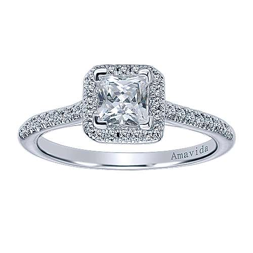 Amaranta 18k White Gold Princess Cut Halo Engagement Ring angle 5