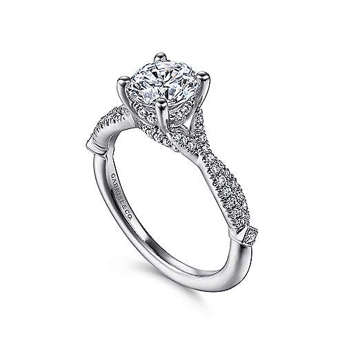 Amber 14k White Gold Round Twisted Engagement Ring angle 3