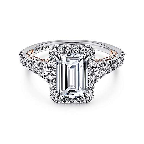 Gabriel - Ambition 18k White And Rose Gold Emerald Cut Halo Engagement Ring